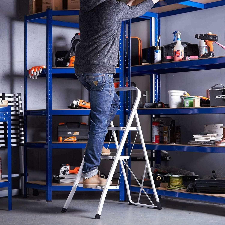 Escalera de acero plegable de 2 peldaños, portátil, ancha, antideslizante, resistente, 150 kg de capacidad, para el hogar, cocina, oficina, almacén: Amazon.es: Bricolaje y herramientas