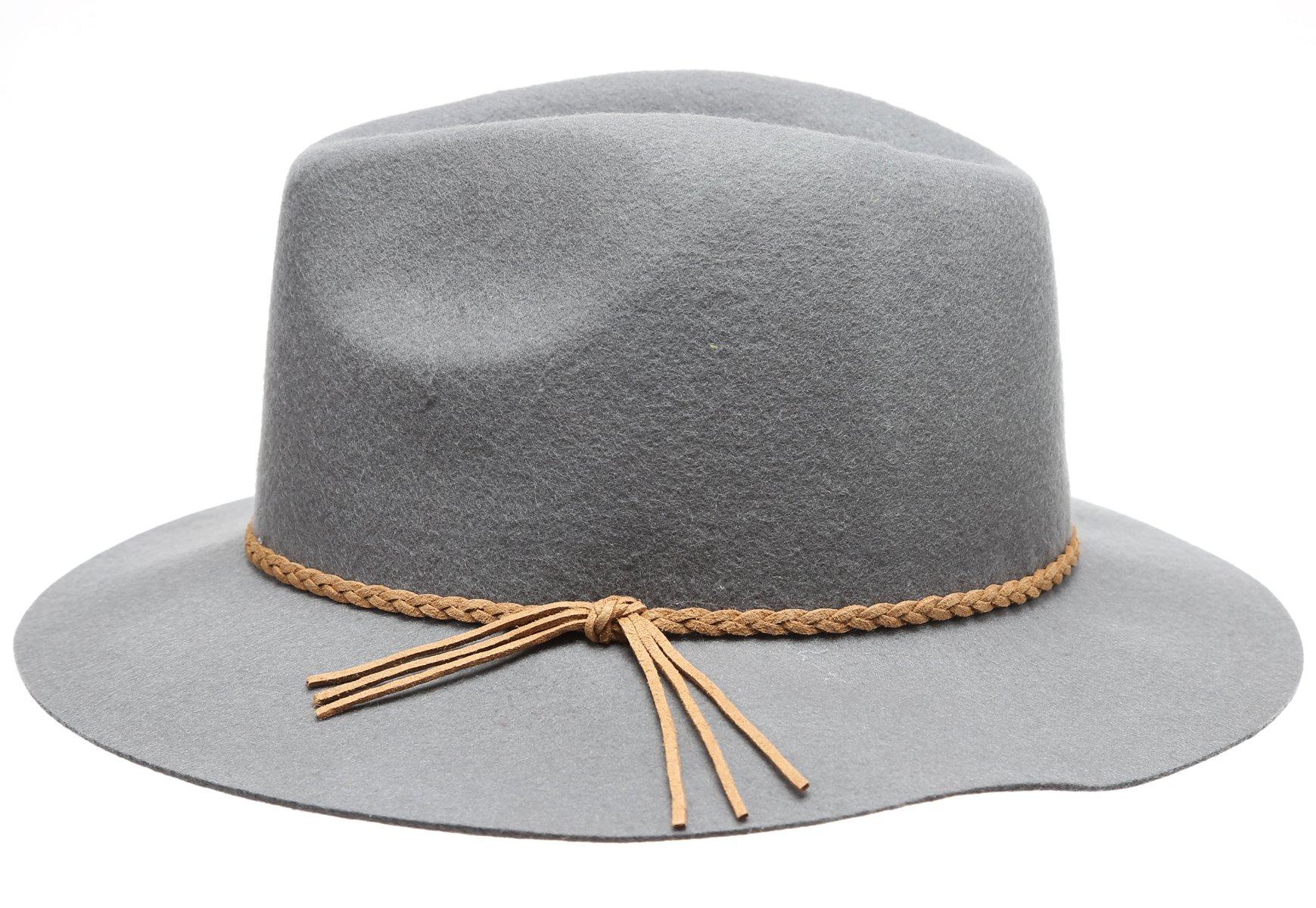 c53a26c91da D Y Women s 100% Wool Felt Cloche Short Brim Floppy Fedora Hat with  Scrunchy   Fedoras   Clothing