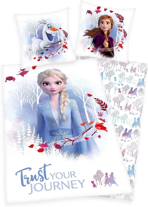 mit Knopfleiste Flanell Bettw/äsche- Set Disneys Die Eisk/önigin 2 100/% Baumwolle Bettbezug 135x200cm Kopfkissenbezug 80x80cm