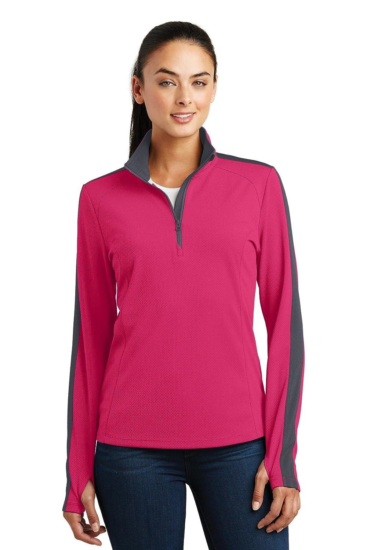 Sport-Tek Ladies Sport-Wick Textured Colorblock 1//4-Zip Pullover LST861