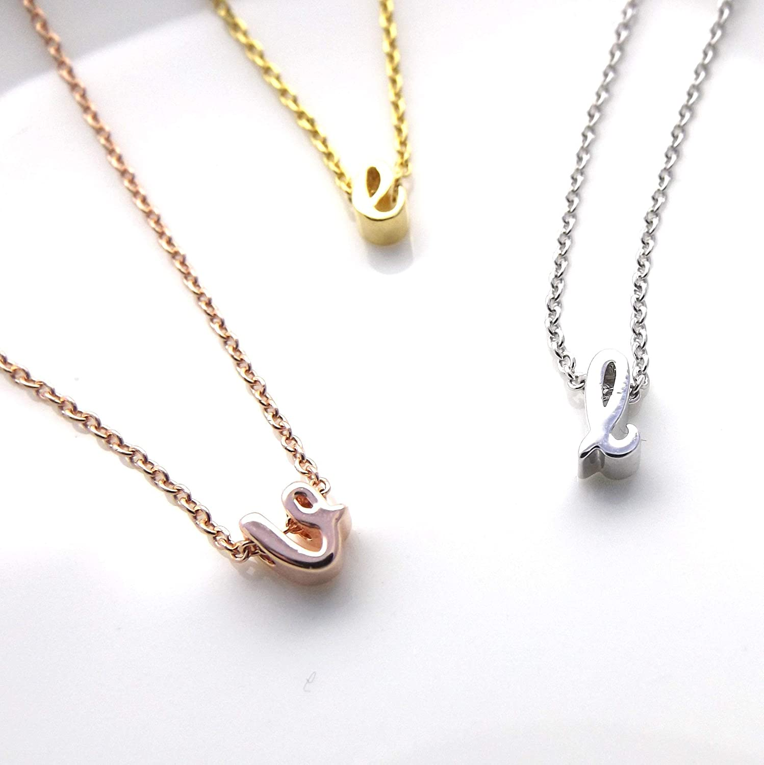 Dainty little Necklace Small Gold Lowercase Letter Necklace Love Letters Personalized Letter Necklace Silver Letter Necklace