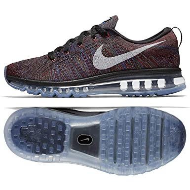 separation shoes aefd2 b7ecc Nike Mens Flyknit Max, BlackWhite-Medium Blue-Team RED, 7