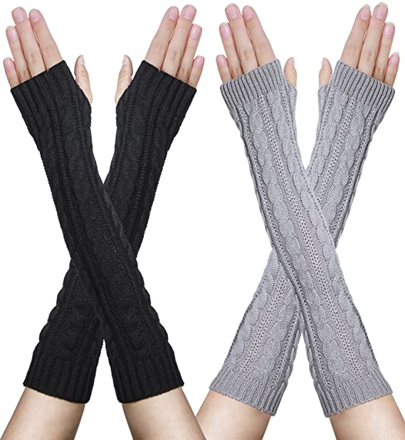 Amandir 2 Pairs Womens Long Fingerless Gloves Arm Warmers Knit Thumbhole Stre...