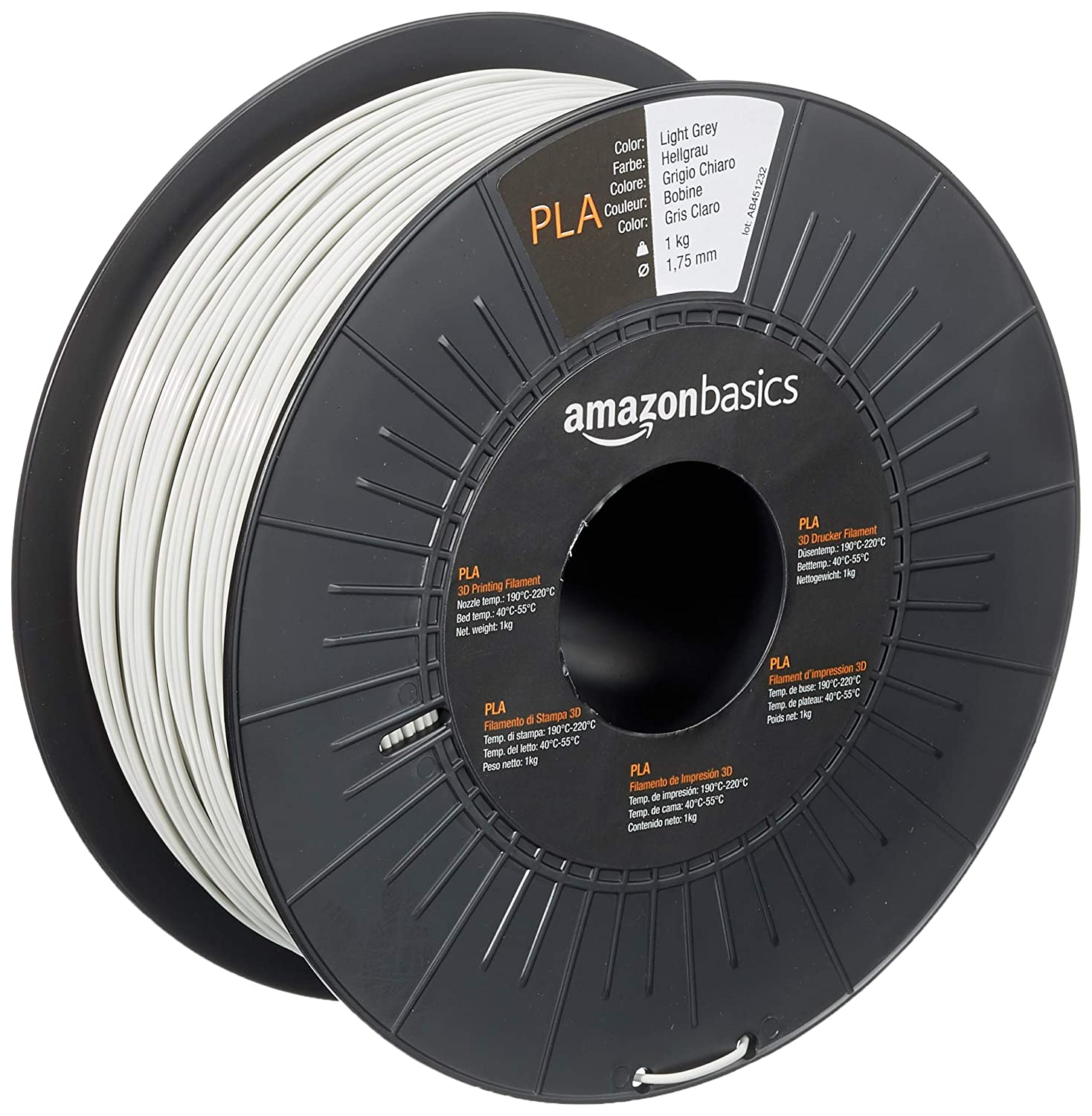 AmazonBasics PLA 3D Printer Filament, 1.75mm, Light Grey , 1 kg Spool