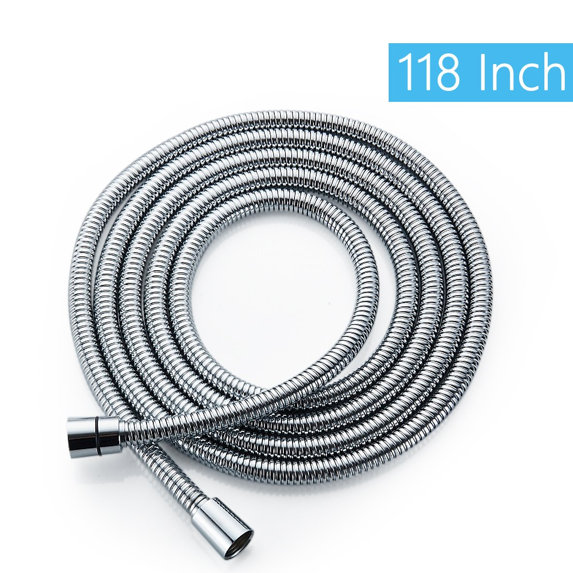 SOQO Bathroom Stainless Steel Water Hose Flexible & Lightweight Shower Hose (118 inch)