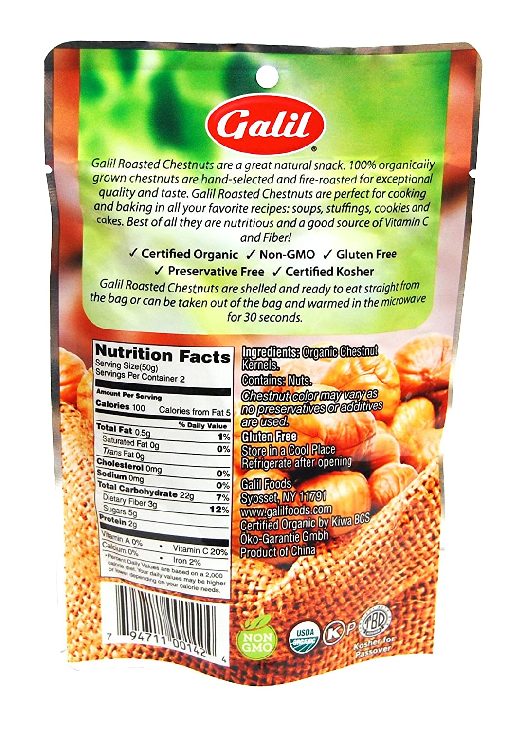 Galil 100% Organic Whole Roasted Chestnuts, 3.5-Ounce Bags (Pack ...