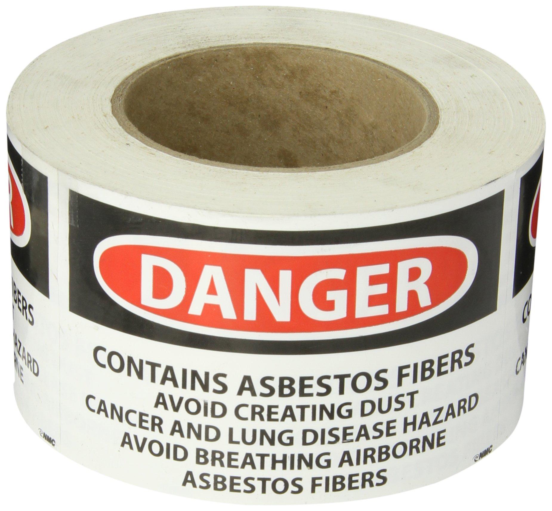 NMC VRD82 Hazard Warning Label, ''DANGER CONTAINS ASBESTOS FIBERS...etc'', 5'' Width x 3'' Height, Pressure Sensitive Vinyl, Red/Black On White (Roll of 500)
