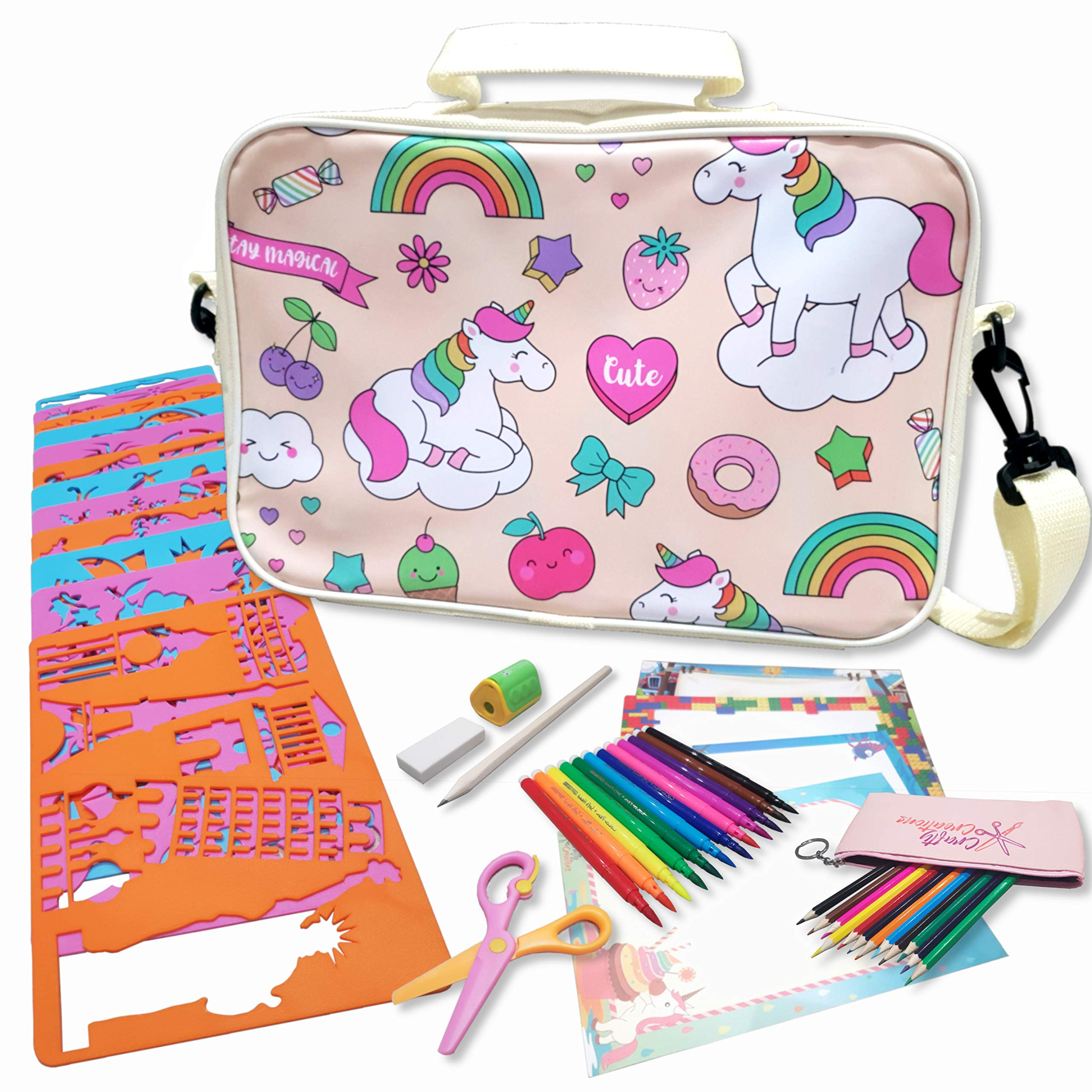 Crafty Creations Super Stencil Set - Arts and Craft Creativity Kit for Boys and Girls - Unique Trendy Unicorn Shoulder Travel Bag - Perfect Educational Activity Gift for Kids Children