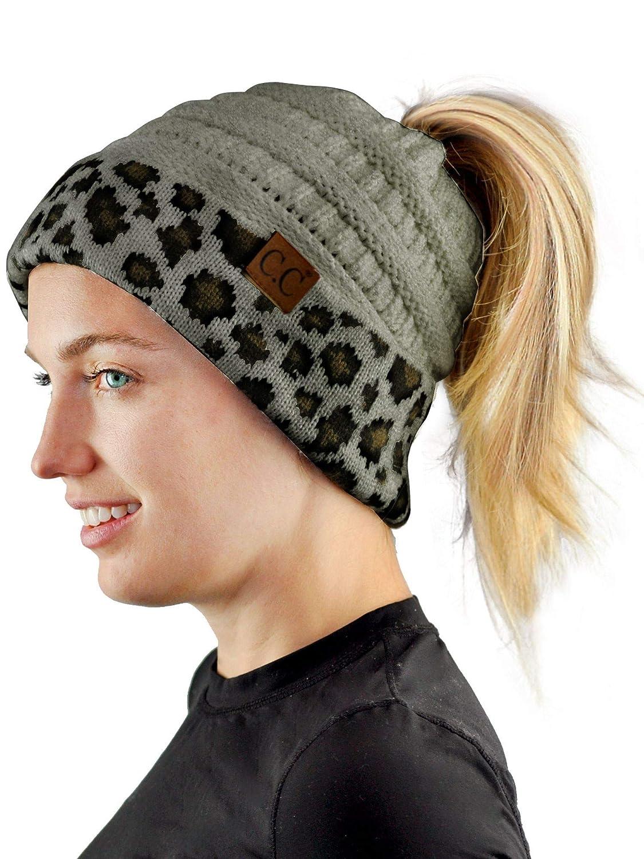 C.C BeanieTail Cable Knit Messy High Bun Ponytail Cuff Beanie Hat