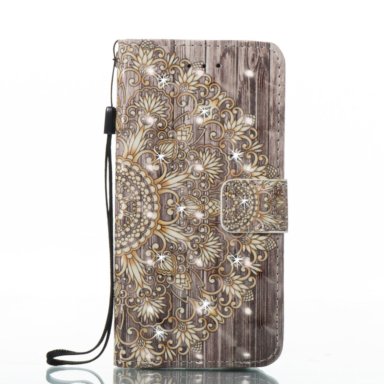 代引き人気 iPhone Shiny 6s Sparkle Plus財布ケース、IKASEFU PUレザー3d Bling Diamond Shiny Golden Sparkle Glitterフォリオフリップ保護カバークレジットカードホルダースタンドマグネット開閉式付きIphone 6 Plus/ 6s Plus Golden flower B0744GK1QF, キョウトシ:6cc5f121 --- svecha37.ru