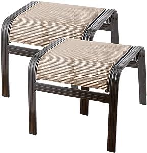 Deguifei Outdoor Patio Footstools Aluminum Outdoor Ottomans Footrest Small Seat Wicker Furniture Patio Ottoman 2 Pieces