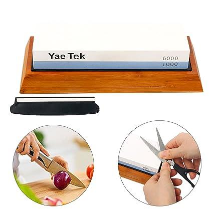 YaeTek Kit de piedra afiladora de cuchillos - 2 lados 1000 ...