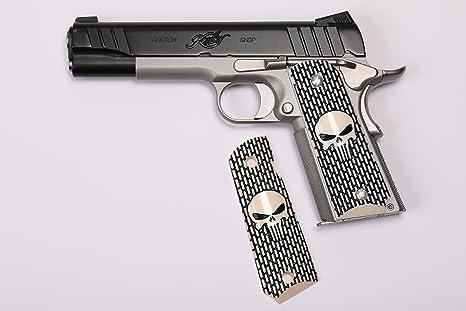 1911 Custom Grip Laser Engraved Punisher Kimber Colt S&W Remington Taurus  Randal