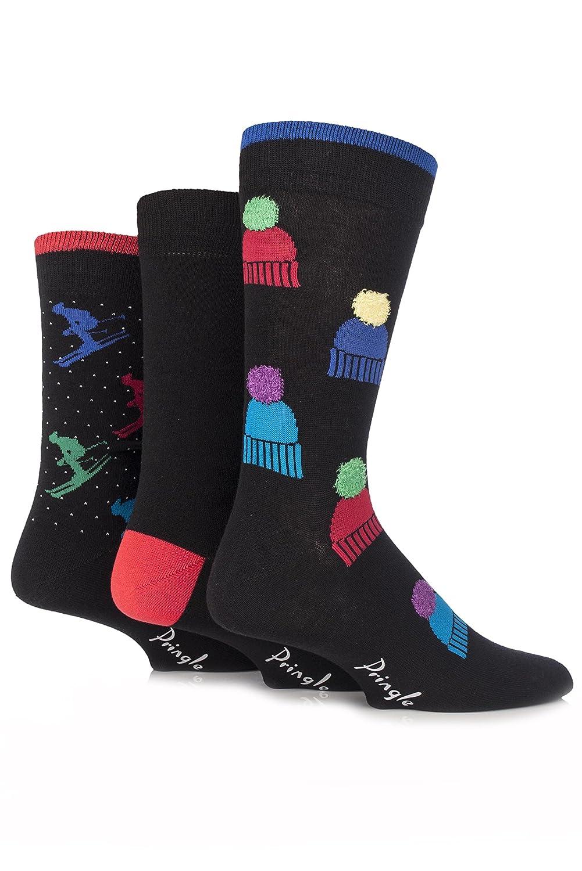 Herren 3 Paar Ski und Pringle Bommelmützen Neuheit Socken aus Baumwolle