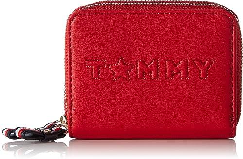 Tommy Hilfiger - Logo Story Med Dbl Za Wallet, Carteras Mujer, Rouge (Tommy