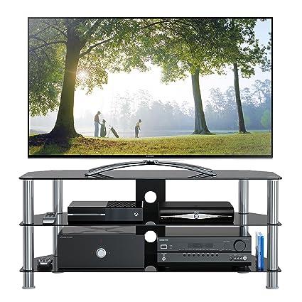 Mobili Porta Plasma.1home Mobile Porta Tv Di Vetro Nero Per Lcd Led E Plasma Tv Da 32 A 70 Gt5