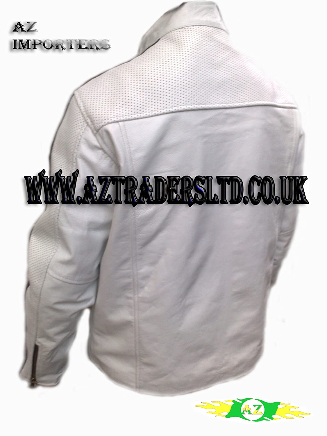 AZ Men's Cafe Racer White Leather Jacket with Black Stripes - Size Large (Europe Size 42)