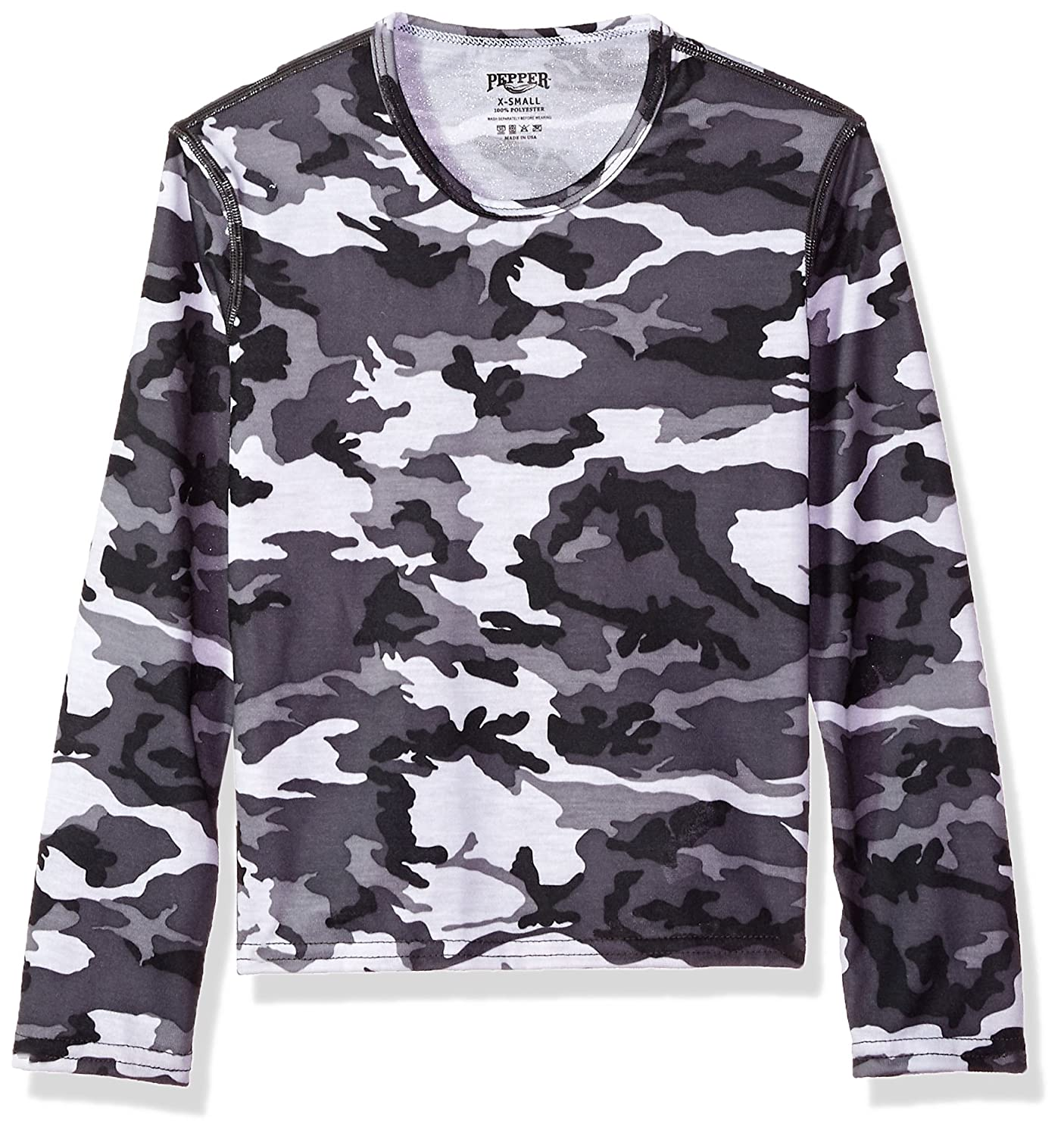 Hot Chillys Youth Pepper Skins Print Crewneck, Storm, Small PS3400P