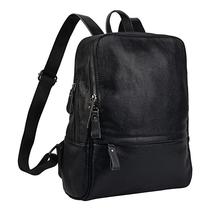 03f77af9084e Belle   Lily Black Genuine Pebbled Leather Backpack Purse Casual Daypack  for Girls Ladies Women Schoolbag