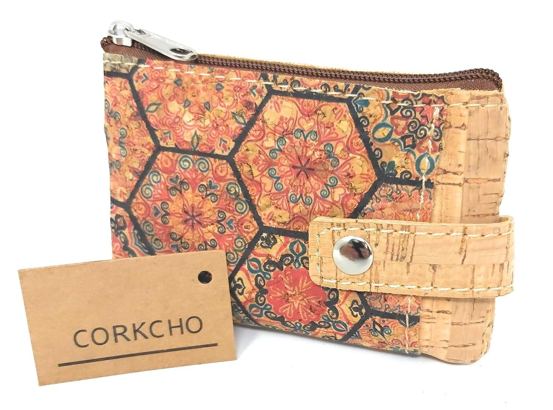 Monedero Tarjetero Corcho 100/% sostenible Biodegradable Variantes y Estampados Bellos a Mano Cenefa Fluor