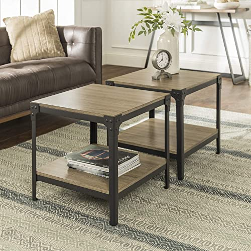 Walker Edison Rustic Farmhouse Square Wood and Metal Frame Side End Accent Table Living Room 2 Tier Storage Shelf, Set of 2, Grey Brown
