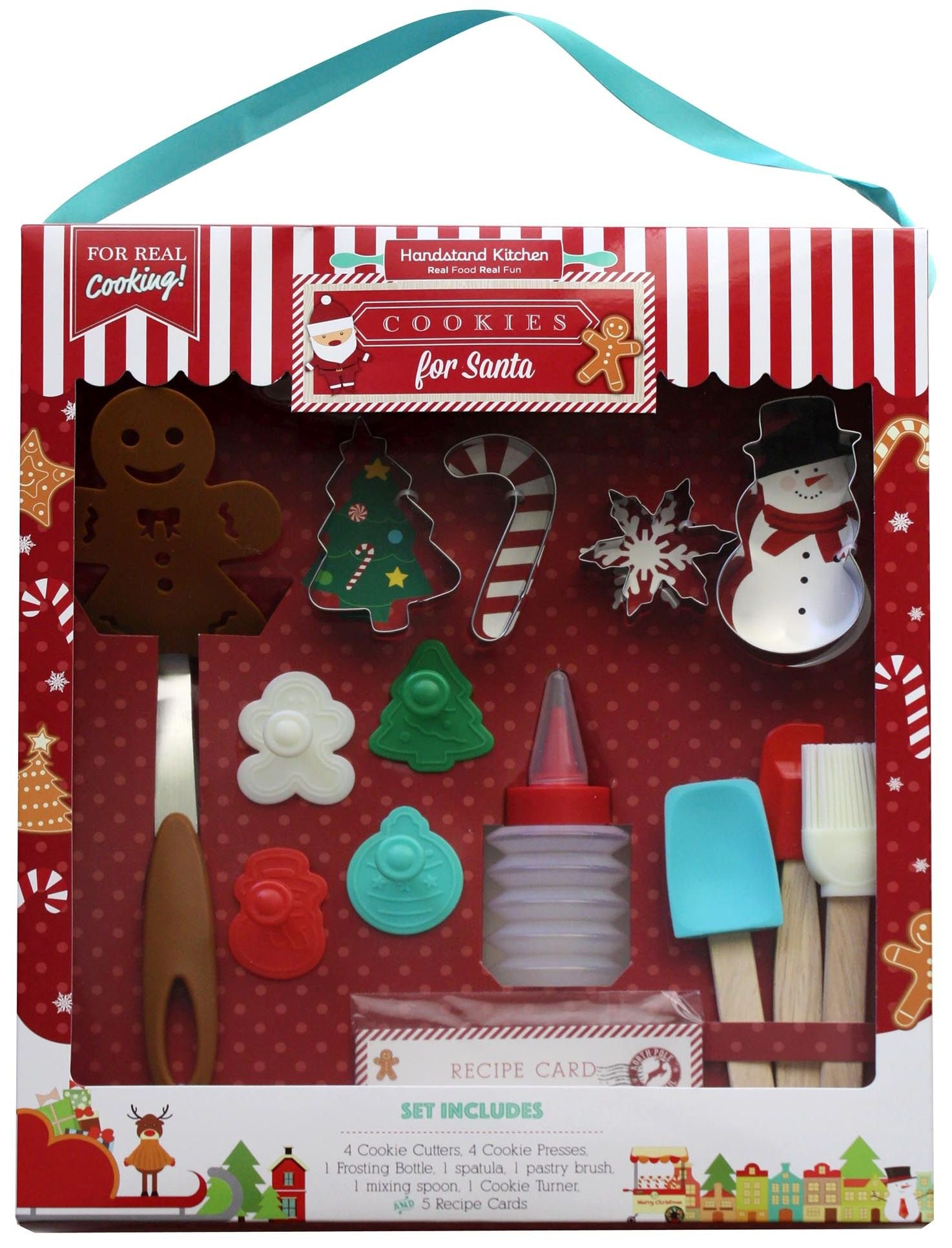 Handstand Kitchen 18-piece Cookies for Santa Real Baking Set with Recipes for Kids