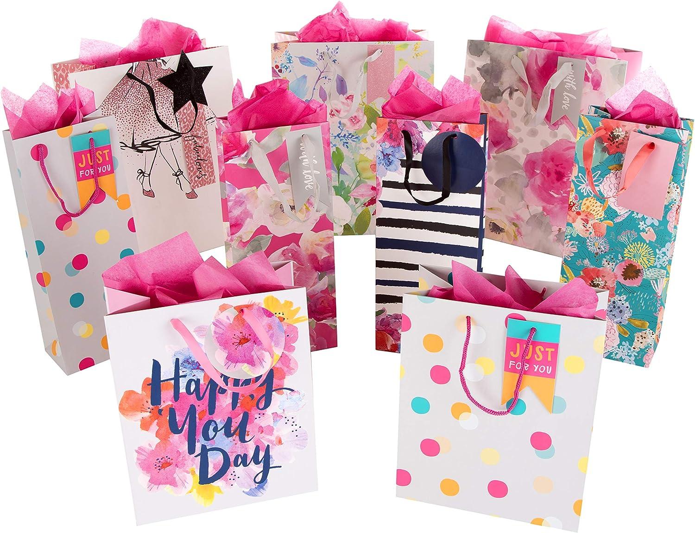 Hallmark – Bolsa de regalo y paquete de pañuelos – 3 bolsas medianas, 4 bolsas de botella, 2 bolsas pequeñas y 3 paquetes de pañuelos: Amazon.es: Oficina y papelería