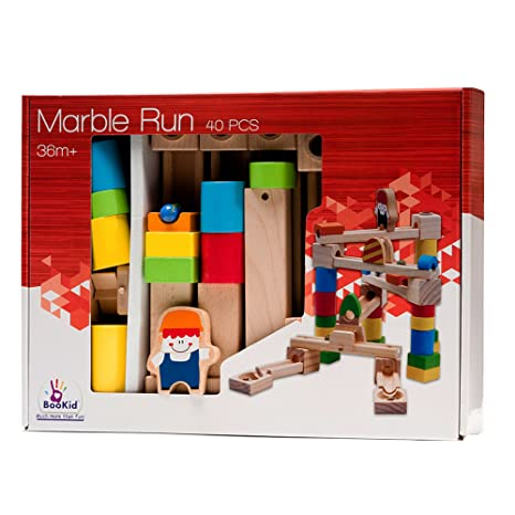 00a2a4e3de2 Amazon.com  BooKid Durable Wooden Marble Run Toys for Toddlers 40 Marble  Track Pieces  Home Improvement