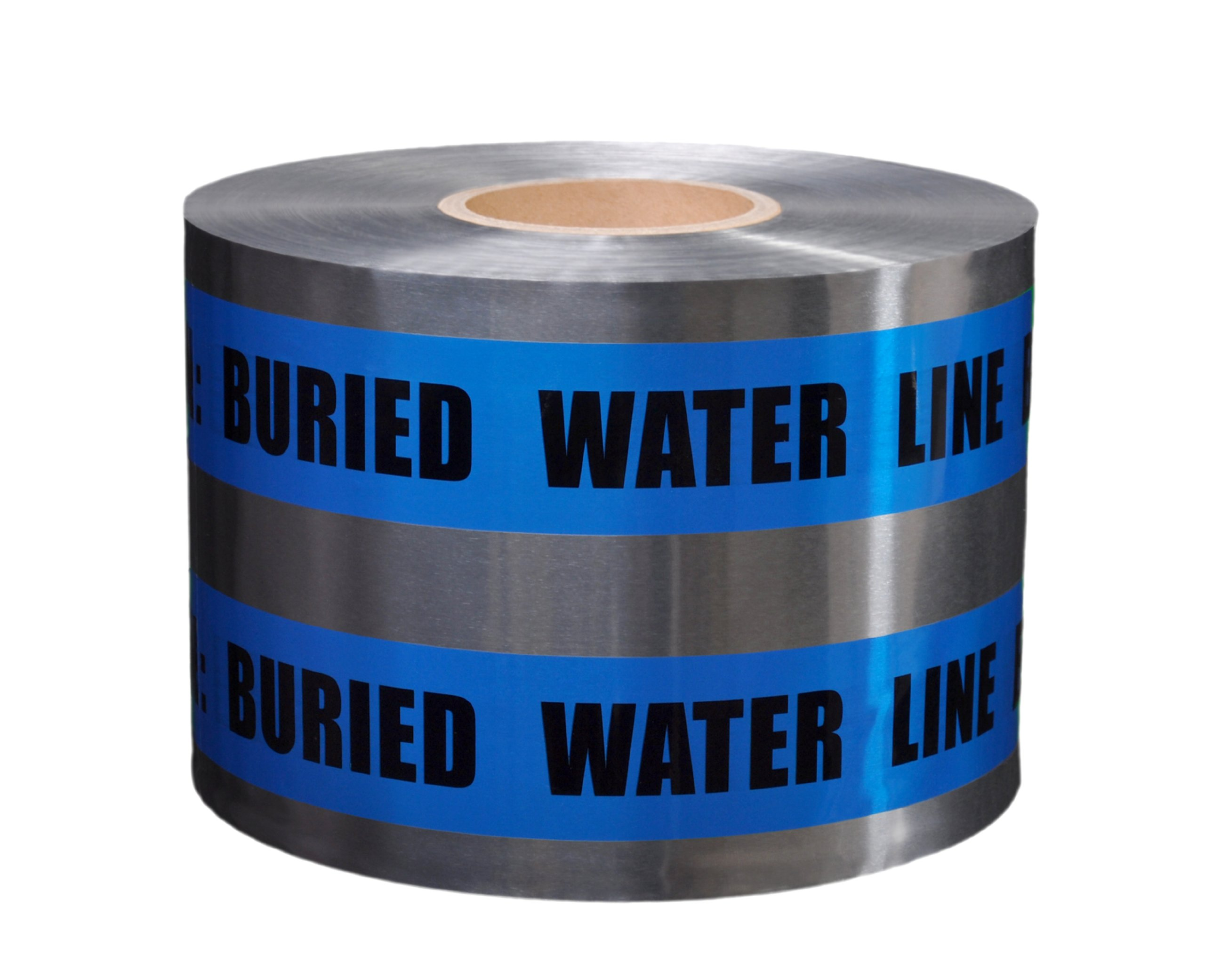 Presco D6105B52-658 1000' Length x 6'' Width, Blue with Black Ink Detectable Underground Warning Tape, Legend ''Caution Water Line Buried'' (Pack of 4)
