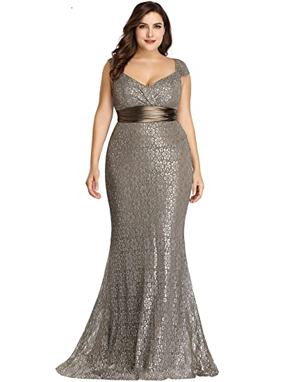 191ede437d58f Ever Pretty Women's Elegant Cap Sleeve Long Lace Mermaid Plus Size ...