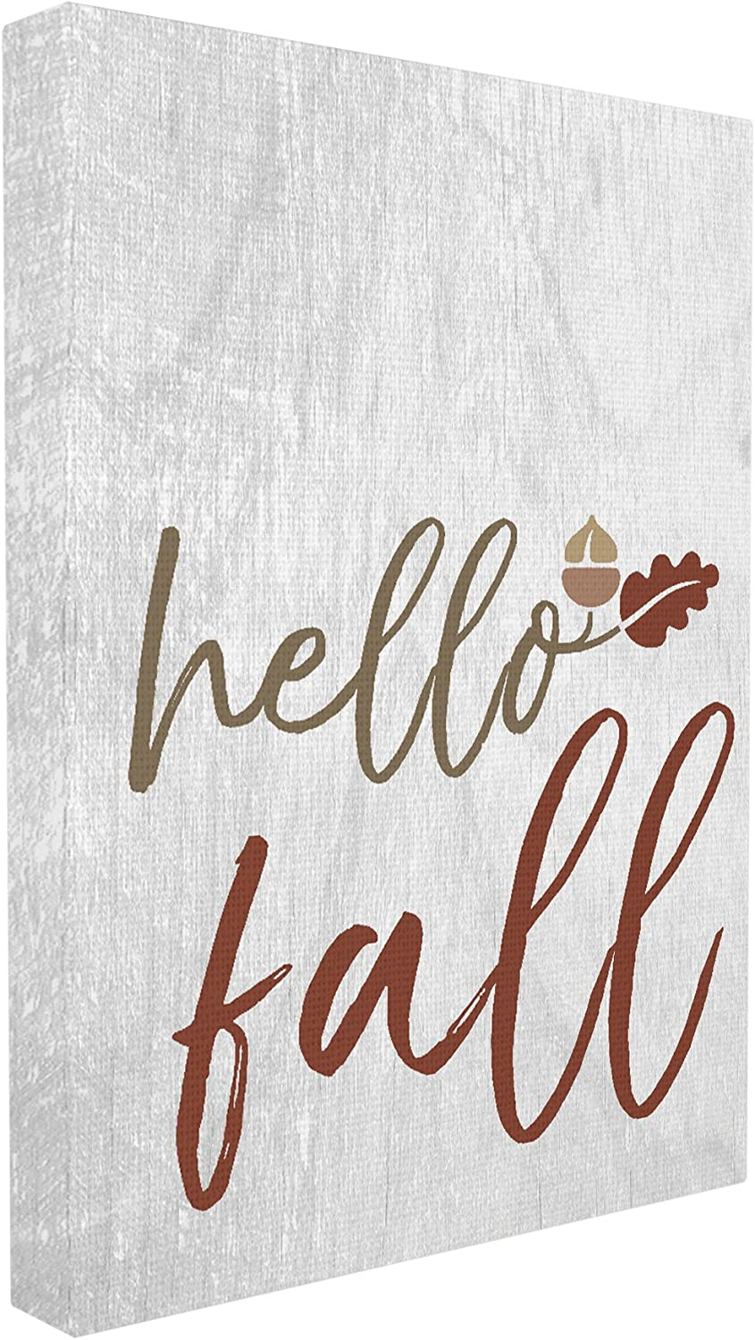 The Stupell Home Décor Collection Hello Fall Oak Leaves and Acorn Oversized Stretched Canvas Wall Art, 24 x 30