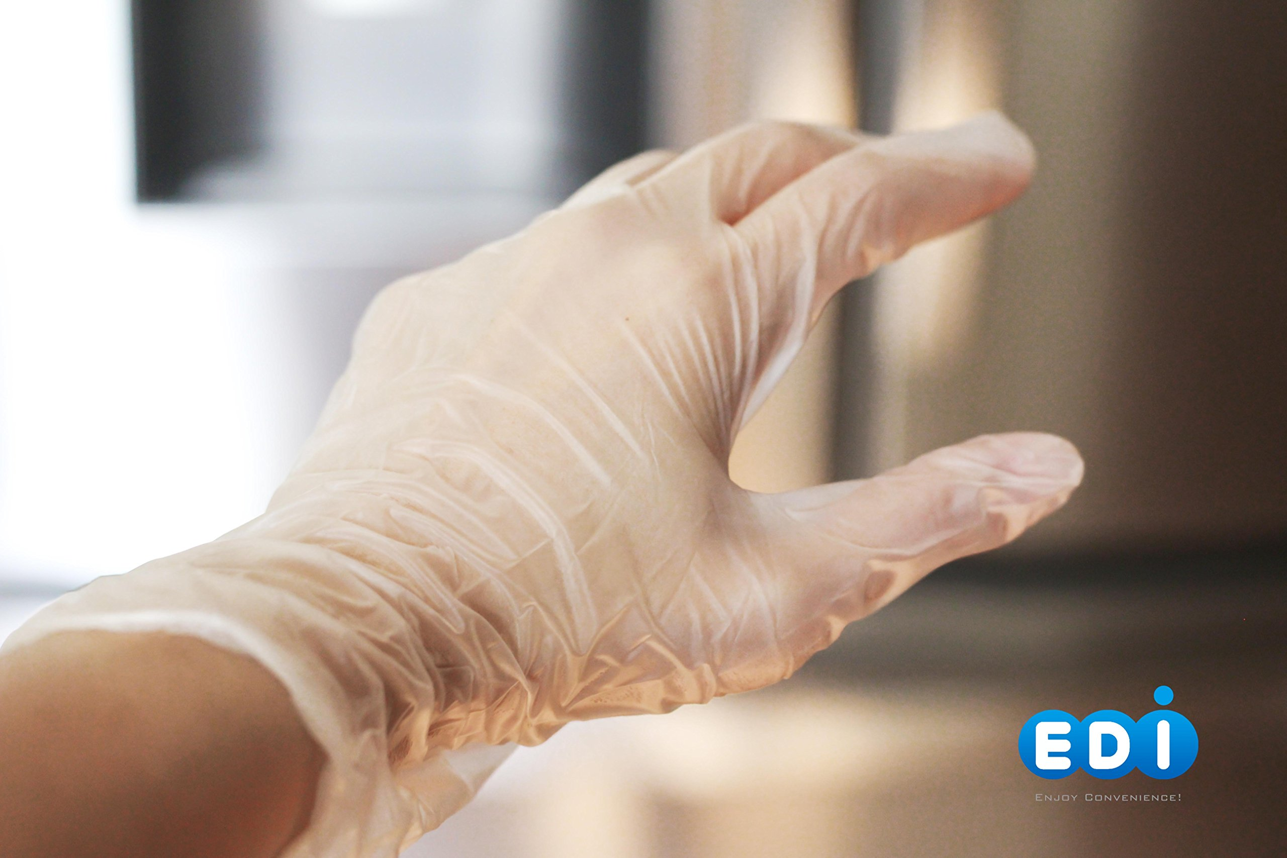 EDI Clear Powder Free Vinyl Glove,4.3 mil,Disposable Glove,Industrial Glove,Clear, Latex Free and Allergy Free, Plastic, Work, Food Service, Cleaning,100 Gloves per Box (1000, Large) by EDI SUPPLIES (Image #2)