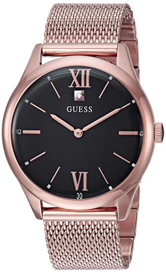 a17ccc4278 GUESS Rose Gold-Tone Stainless Steel Mesh Bracelet Watch with Black Genuine  Diamond Dial. Color: Rose Gold-Tone (Model: U1214G2): Amazon.ca: Watches
