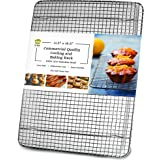 Oven-Safe 100% Stainless Steel Wire Cooling Rack for Baking - Large Wire Baking Rack fits Half Sheet Pans - Food-Safe, Dishwa