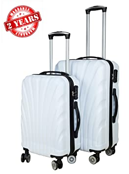 3G Combat 8018 Series 20 and 24 Inches 4 Wheel Hard Sided ABS Trolley Travel Suitcase Bag (White) -Set of 2