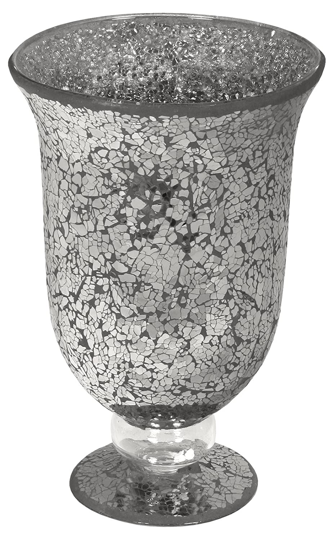Febland Black Mosaic Glass Large Hurricane Vase GM48B