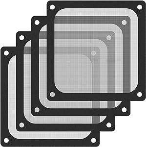 120mm Fan Dust Filter Mesh Magnetic Frame PVC Computer PC Case Fan Dust Proof Filter Cover Grills Black 4-Pack