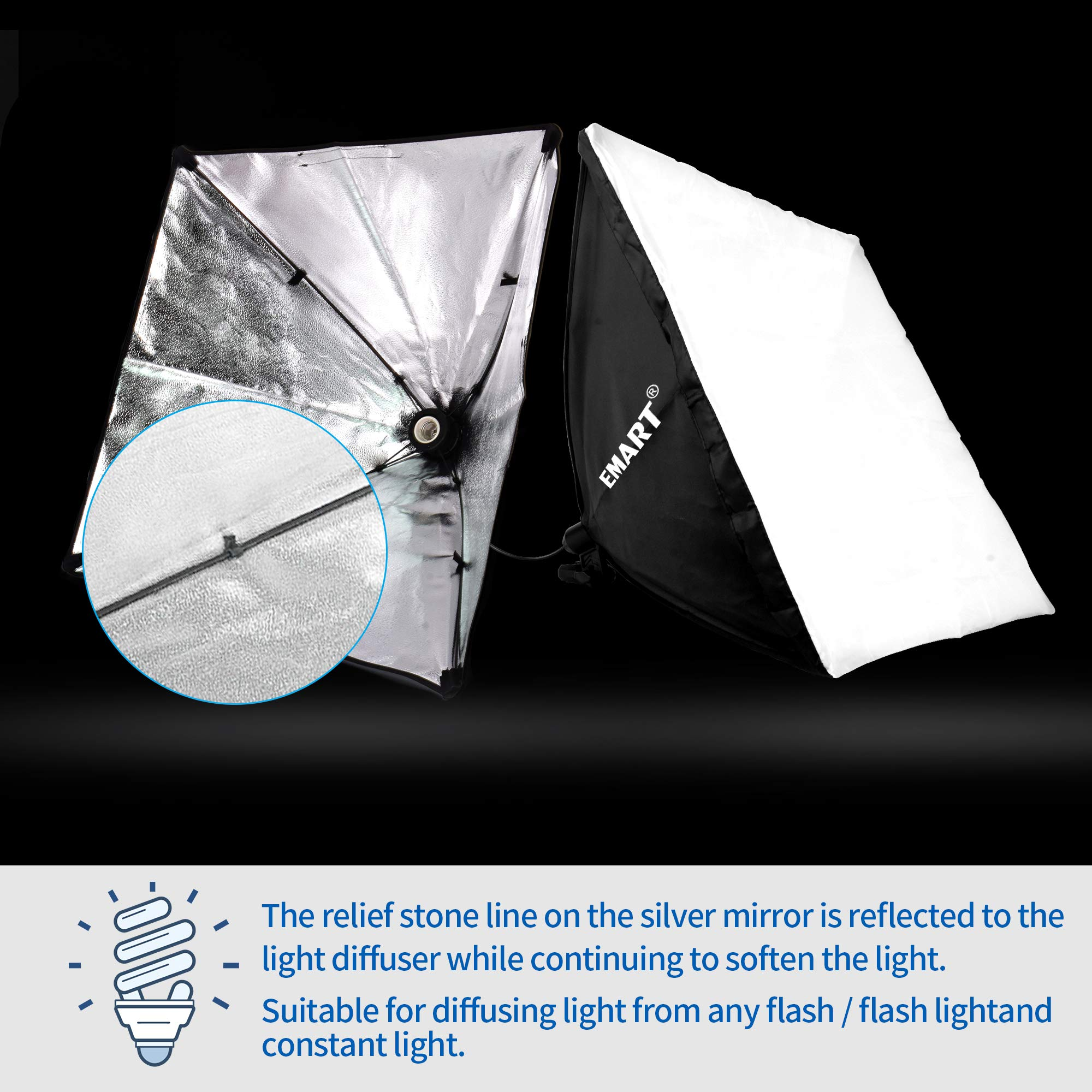Emart 900W Softbox Lighting Kit Photography Continuous Photo Studio Light System for YouTube Video Shooting Soft Box 24'' x 24'' by EMART (Image #2)