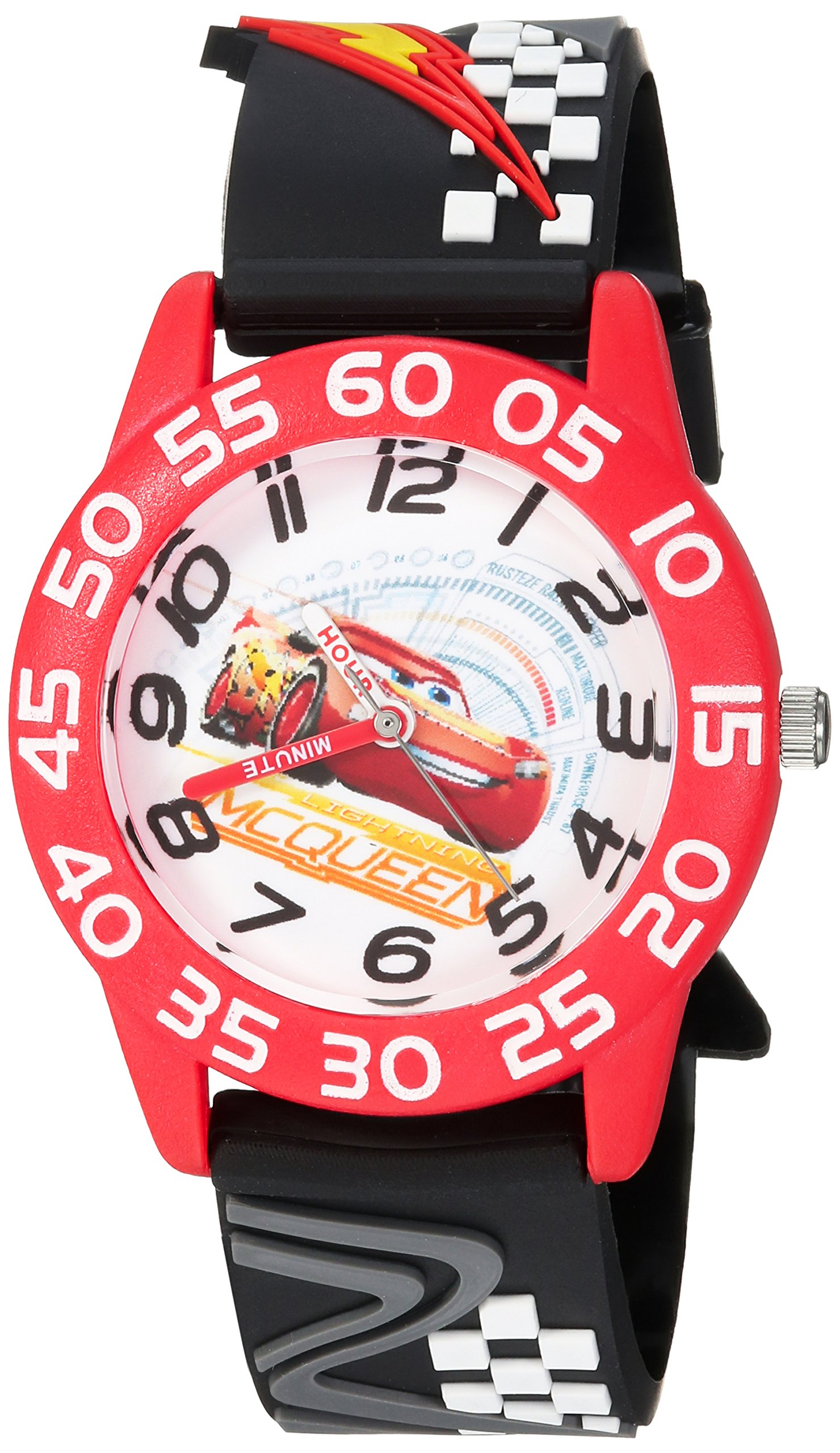 DISNEY Boy's Cars 3 Lightning' Quartz Plastic Casual Watch, Color:Black (Model: WDS000289)