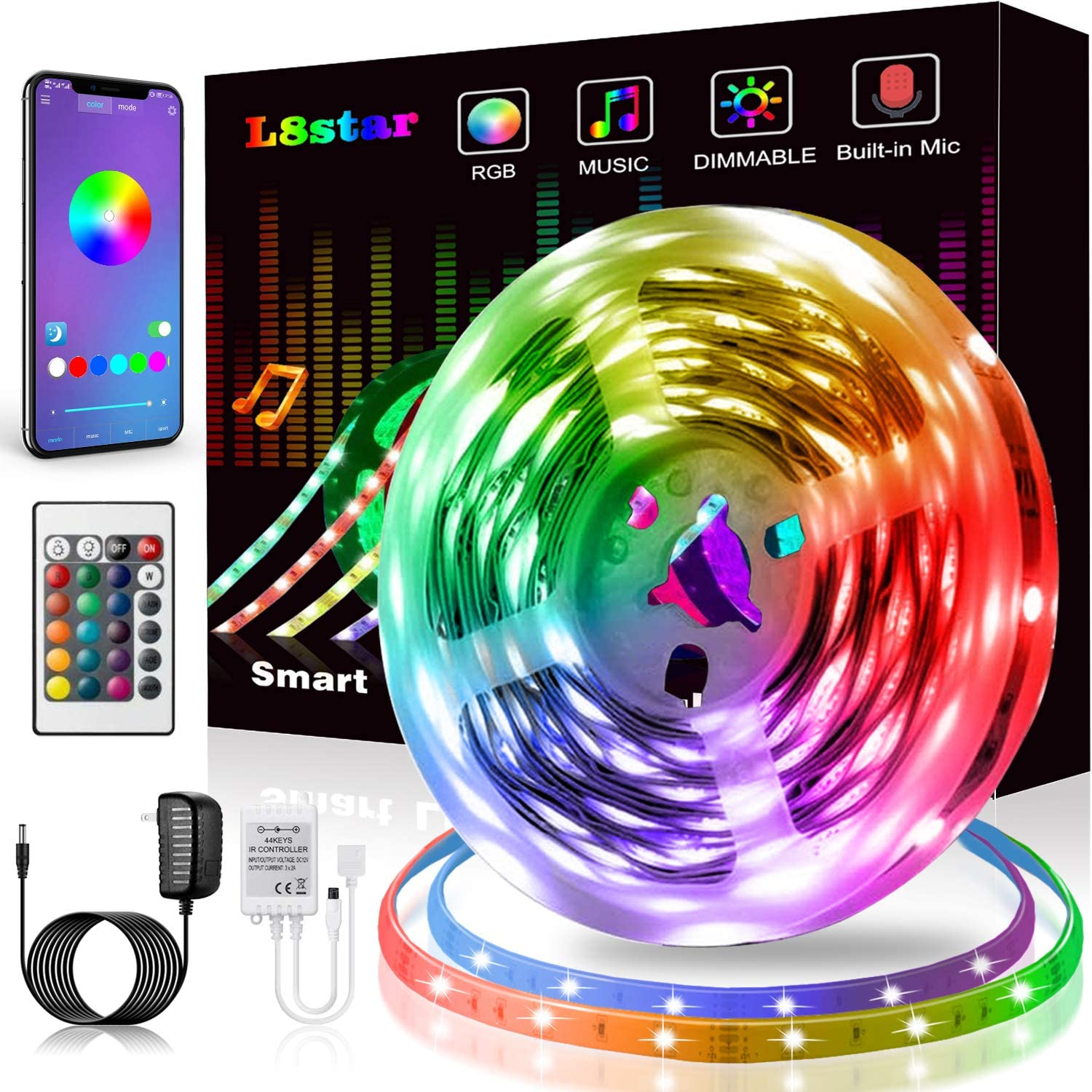 LED Strip Lights, KIKO Smart Color Changing LED Lights 16.4ft/5m SMD 5050 RGB Light Strips with Bluetooth Controller Sync to Music Apply for Bedroom, Party, Home Decoration
