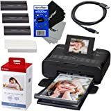 "Amazon Price History for:Canon Selphy CP1200 Wireless Color Photo Printer (Black) + Canon KP-108IN Color Ink Paper Set (Produces up to 108 of 4 x 6"" prints) + USB Printer Cable + 2 HeroFiber Ultra Gentle Cleaning Cloths"