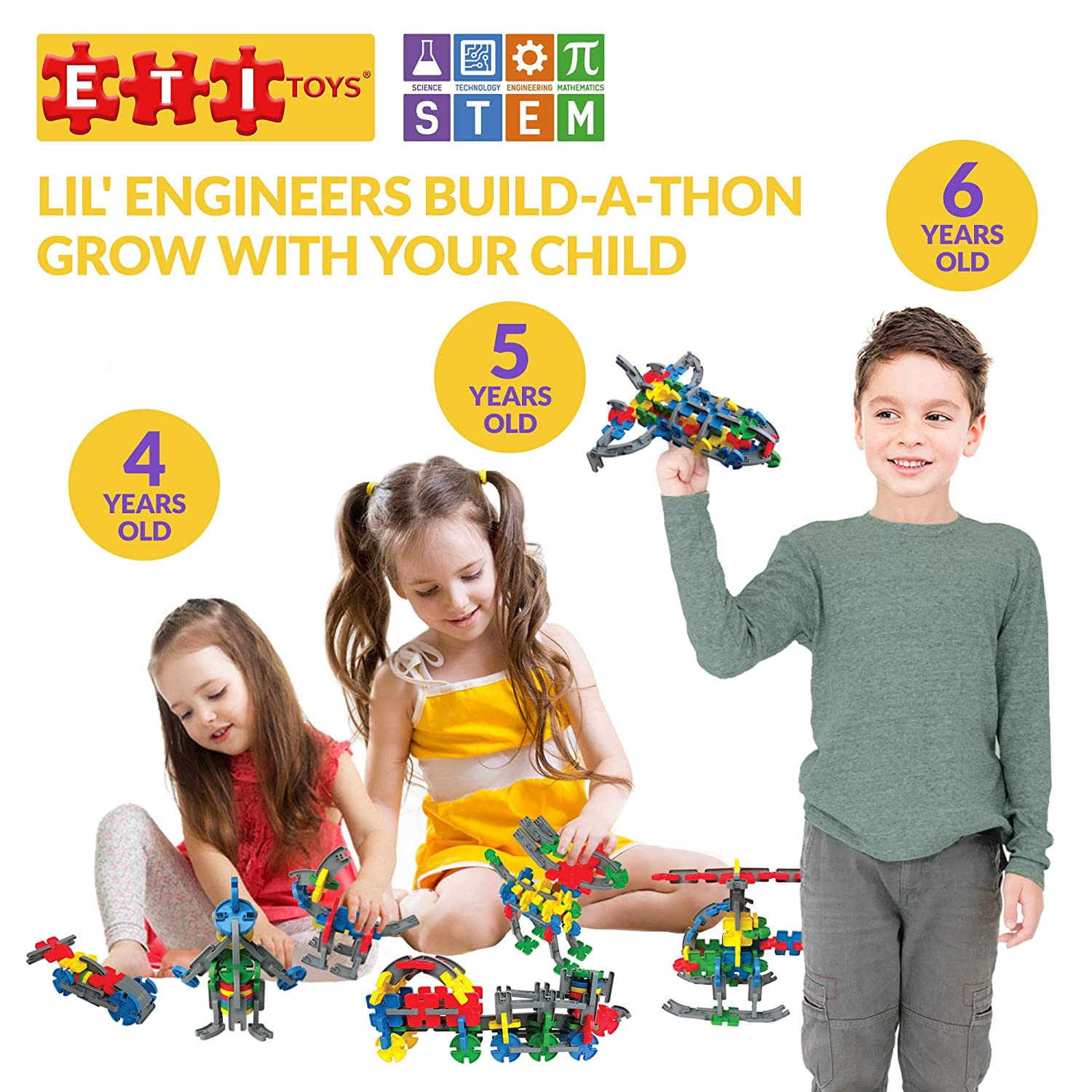 Toy for 4 100/% Non-Toxic STEM Learning 6 Year Old Boys and Girls 104 Piece Lil Engineers Build-A-Thon; Build Train 5 Rocket ETI Toys Endless Designs Motor Bike Creative Skills Development