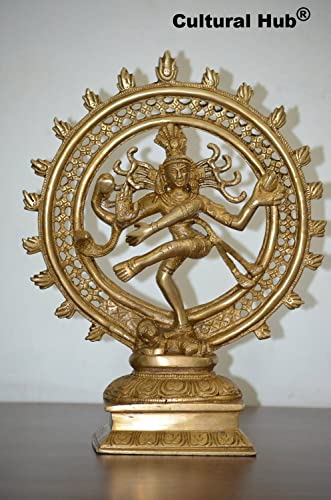 Cultural Hub Nataraj Statue Dancing Shiva Brass Hand Engraved Sculpture 7 Lb Weight with 9.2 Inch Height J92-1600-0022 9.2 Inch Golden