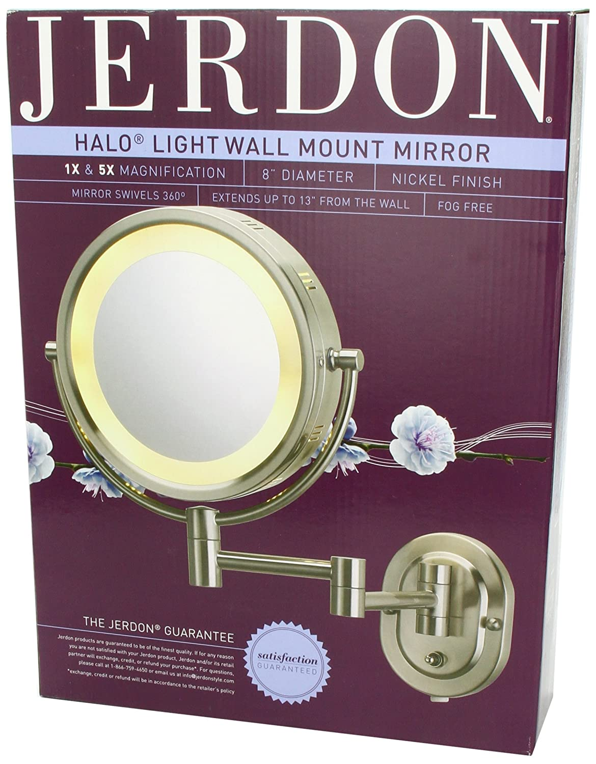 Amazon jerdon hl65n 8 inch lighted wall mount makeup mirror amazon jerdon hl65n 8 inch lighted wall mount makeup mirror with 5x magnification nickel finish personal makeup mirrors beauty amipublicfo Gallery