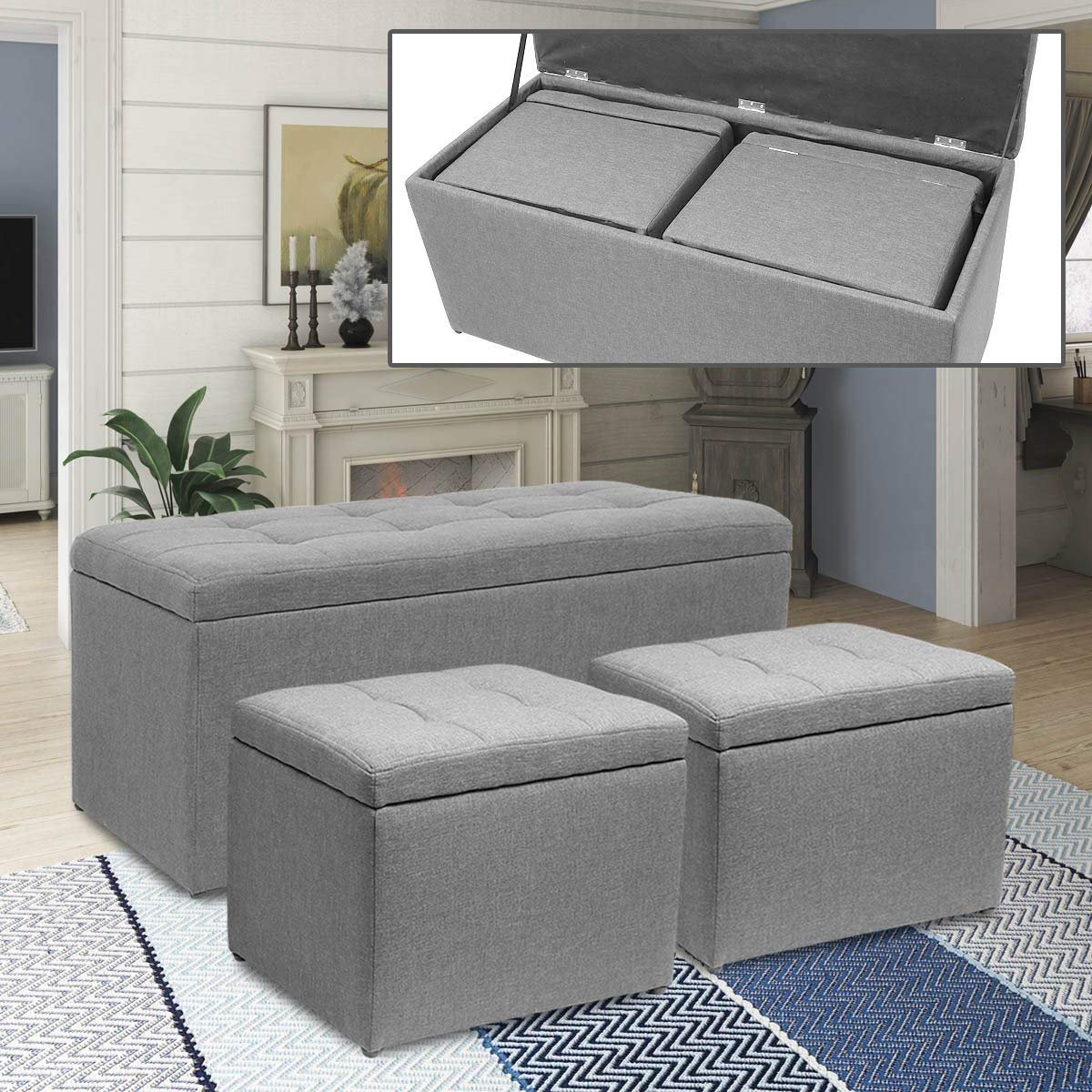 Magshion 3 Piece Linen Storage Ottoman Bench Footrest with 2 Cube Ottoman Set Grey