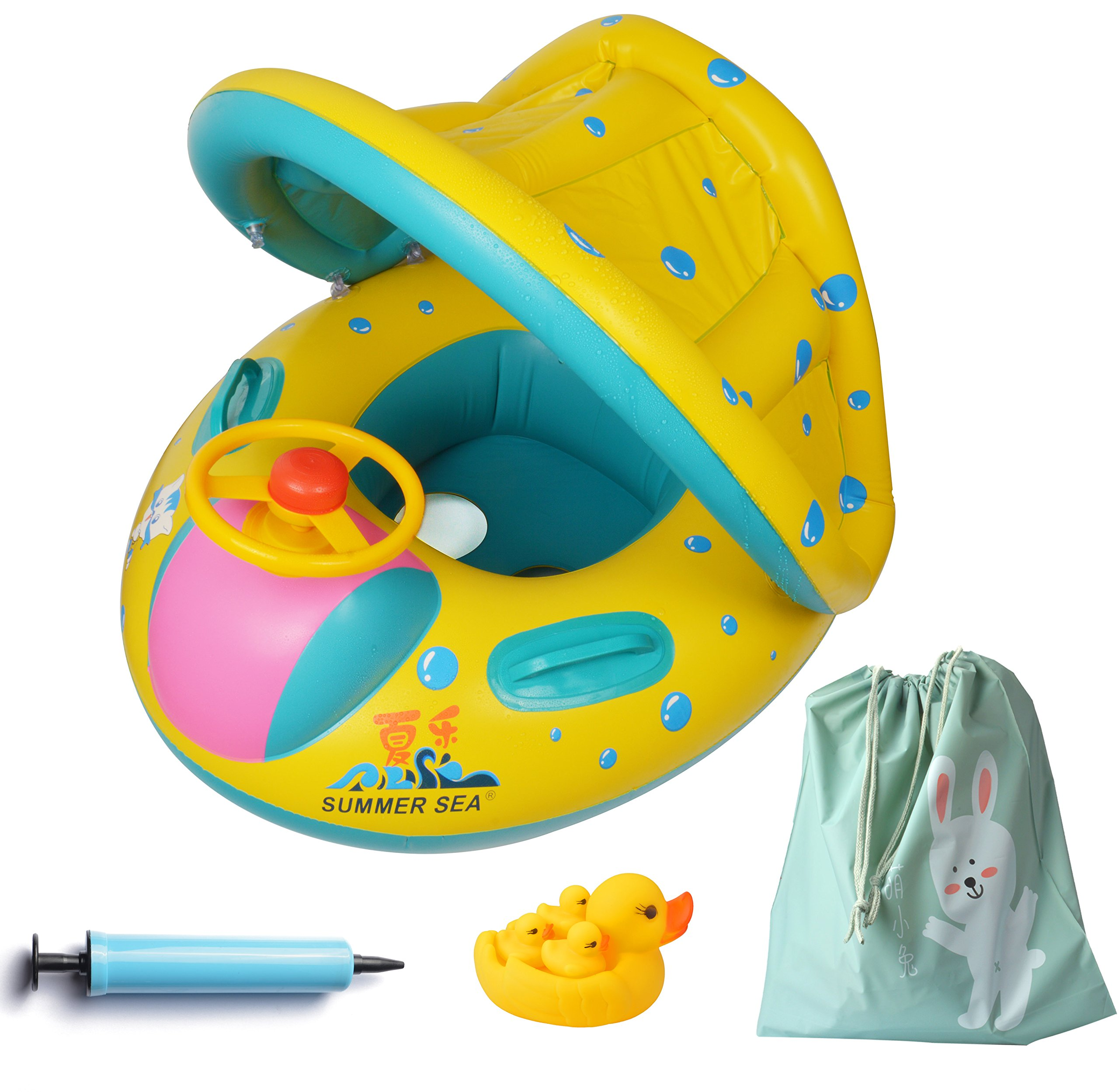 FindUWill Inflatable Baby Float-Pool Swimming Ring with Sun Canopy with Inflator Pump,Waterproof Carry Bag,Duck Toys by FindUWill