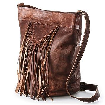 7df1b551884db Nama  Marisa  Shopper Fransentasche Echtes Leder Umhängetasche für Damen  Vintage Beuteltasche Handtasche Schultertasche Look