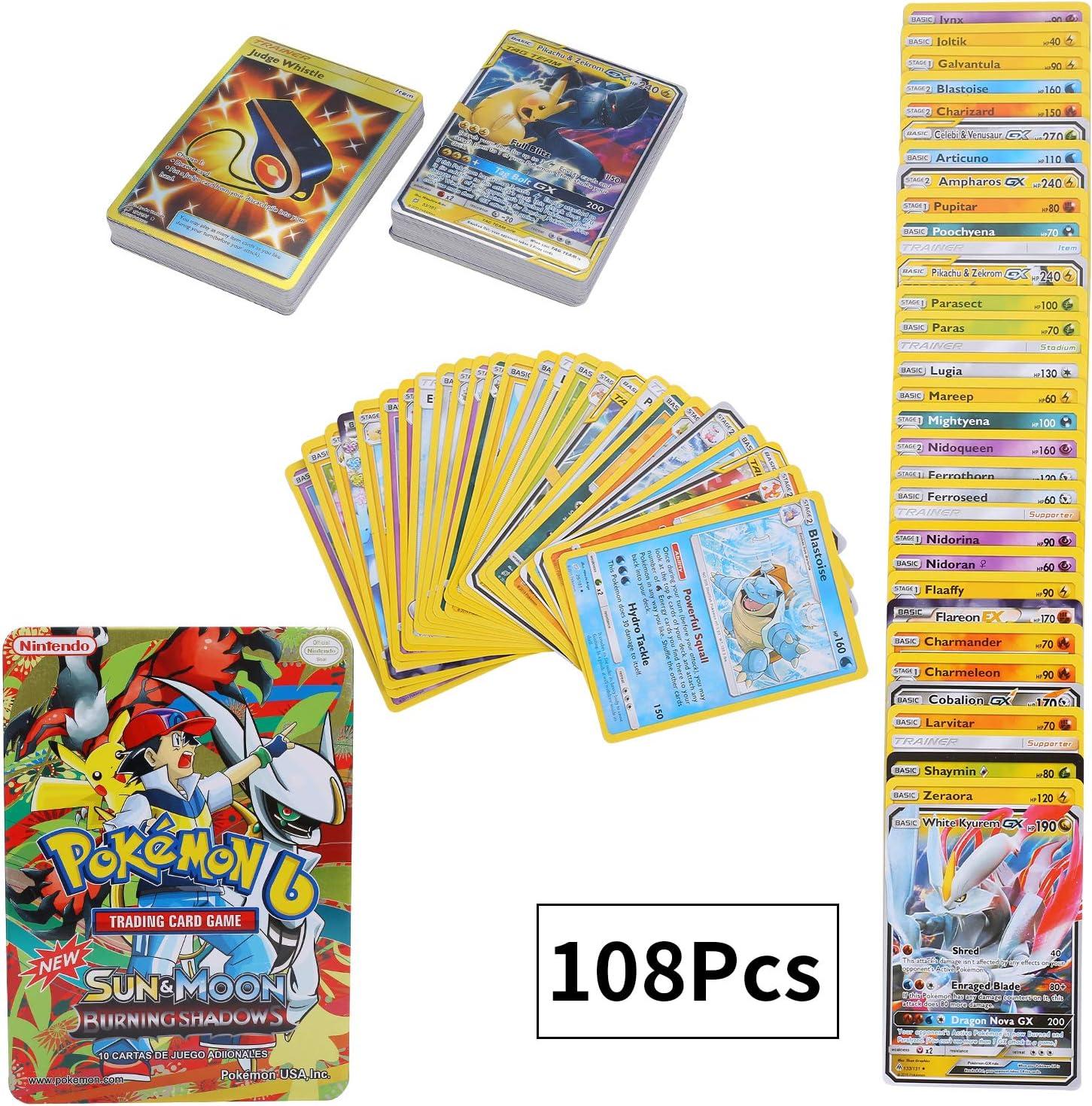 108 Piezas Pokemon Cartas, Pokemon Trading Cards, Tarjetas de ...