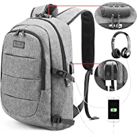 Tzowla Business Laptop Backpack Water Resistant Anti-Theft College Backpack with USB Charging Port and Lock 15.6 Inch Computer Backpacks for Women Girls, Casual Hiking Travel Daypack (Gray)