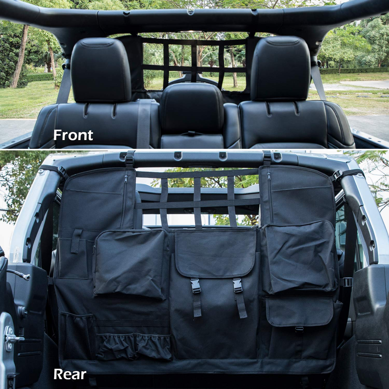 Pet Dog Barrier Yoursme Car Rear Seat Cover for Jeep Wrangler 2007-2019 JK/&JL 4 Door with Multi-Size Organizer Storage Bags//Trunk Cargo Tool Organizers Holder